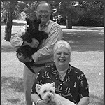 Jerry and Lois Patten with their dogs